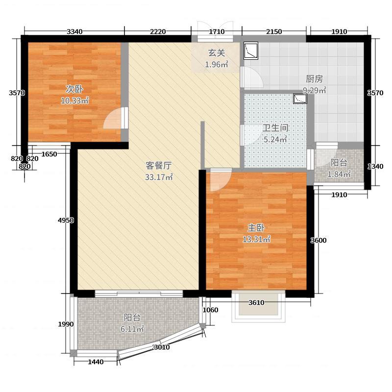 和泰馨和园99.18㎡3#5#号楼A2-2户型2室2厅1卫1厨