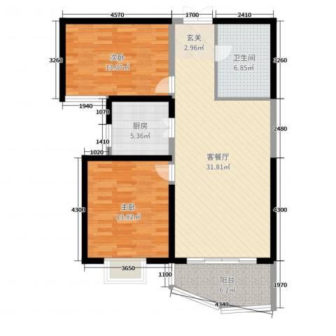 和泰馨和园2室2厅1卫1厨96.00㎡户型图