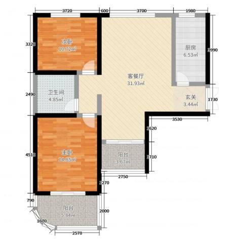 和泰馨和园2室2厅1卫1厨98.00㎡户型图