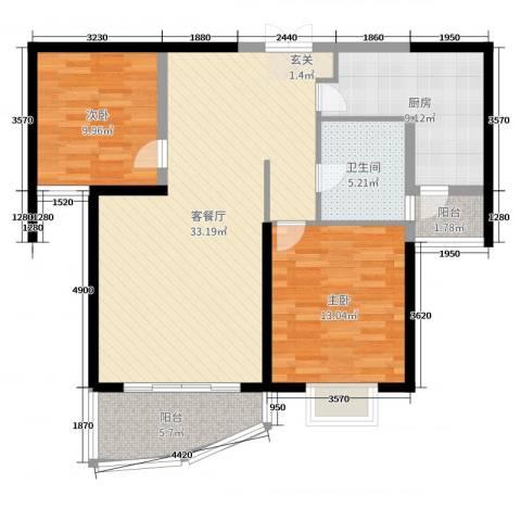和泰馨和园2室2厅1卫1厨97.00㎡户型图