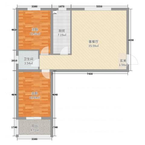 领南庄园2室2厅1卫1厨97.00㎡户型图