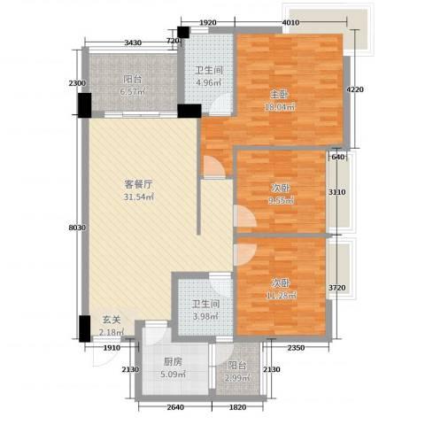 阳东幸福家园3室2厅2卫1厨94.00㎡户型图