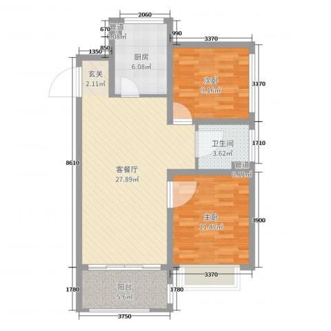 华润・橡树湾2室2厅1卫1厨80.00㎡户型图