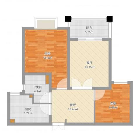 杨浦珠江香樟园2室2厅1卫1厨82.00㎡户型图