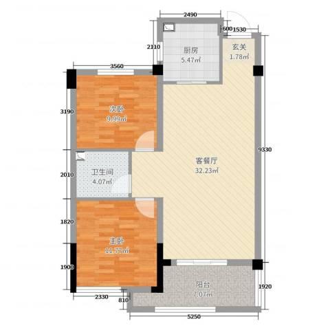 成坤・紫荆花园2室2厅1卫1厨88.00㎡户型图