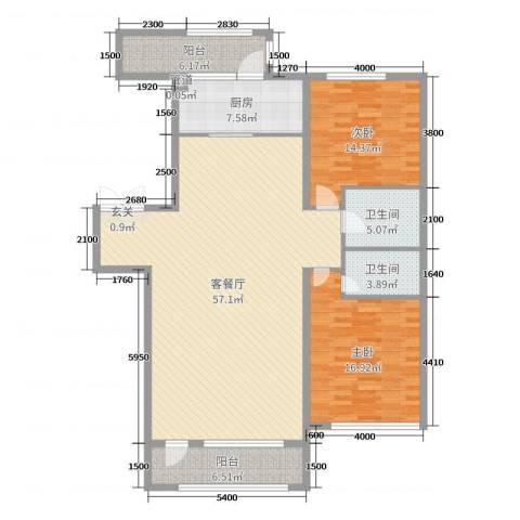 宏润翠湖天地2室2厅2卫1厨140.00㎡户型图