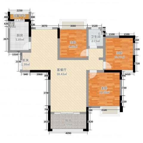 五洲龙湾3室2厅1卫1厨106.00㎡户型图
