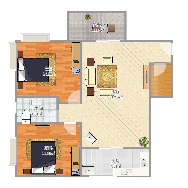 城市假日园E12-10层03单元78方2房2厅1卫
