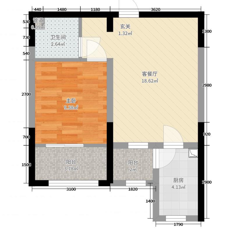 腾业・国王镇52.88㎡C6户型1室1厅1卫1厨