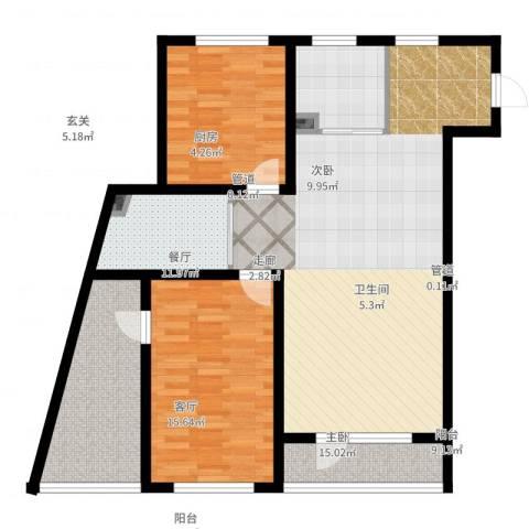 万嘉国际2室2厅1卫1厨119.00㎡户型图