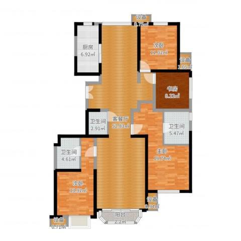 中冶・德贤公馆4室2厅5卫3厨163.00㎡户型图