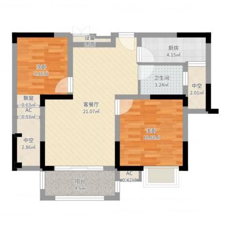 中宸御龙湾2室2厅1卫1厨73.00㎡户型图