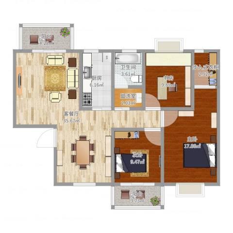 长虹百花沁苑3室2厅1卫1厨119.00㎡户型图