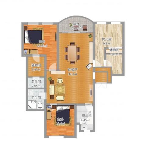 万科翡翠滨江2室2厅2卫1厨118.00㎡户型图