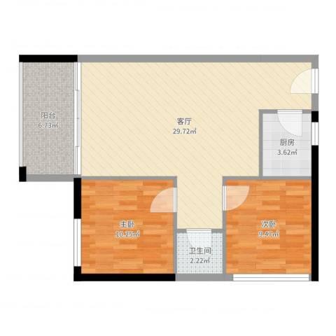 龙津世家2室1厅1卫1厨78.00㎡户型图