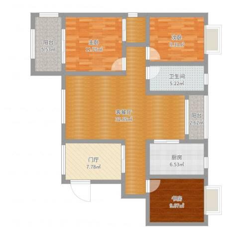 华仪富丽华城3室2厅1卫1厨116.00㎡户型图