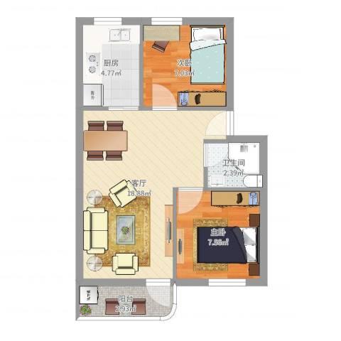 南苑小区2室1厅1卫1厨54.00㎡户型图