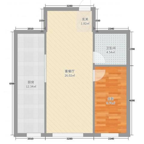 紫金城1室2厅1卫1厨52.64㎡户型图