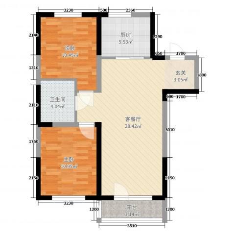 新加坡花园2室2厅1卫1厨92.00㎡户型图