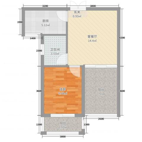 锦天・生态城1室2厅1卫1厨52.00㎡户型图