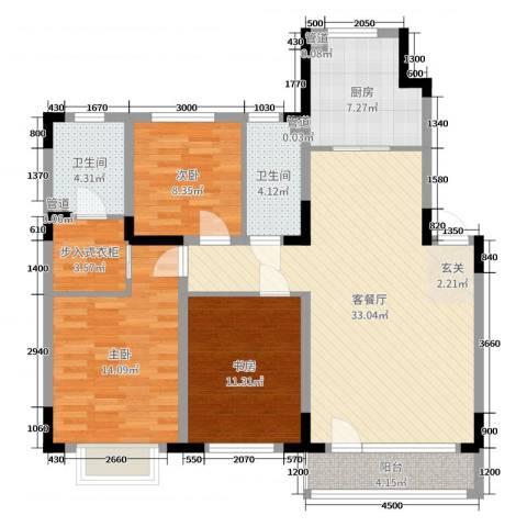 新加坡花园3室2厅2卫1厨116.00㎡户型图