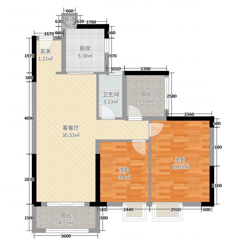 中海花湾壹号92.00㎡D4#06-08单元户型3室3厅2卫1厨