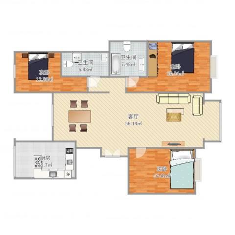 园丁小区3室1厅2卫1厨167.00㎡户型图