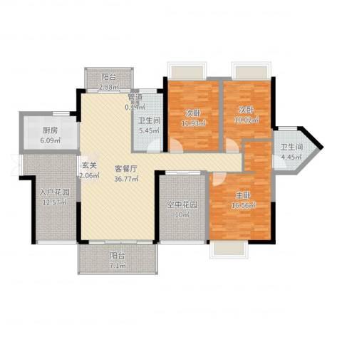 城建・君悦城3室2厅2卫1厨155.00㎡户型图