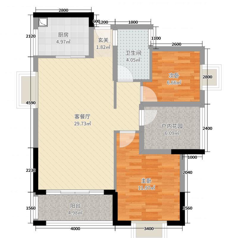 金碧丽江东海岸花园89.71㎡C-2户型2室2厅1卫1厨