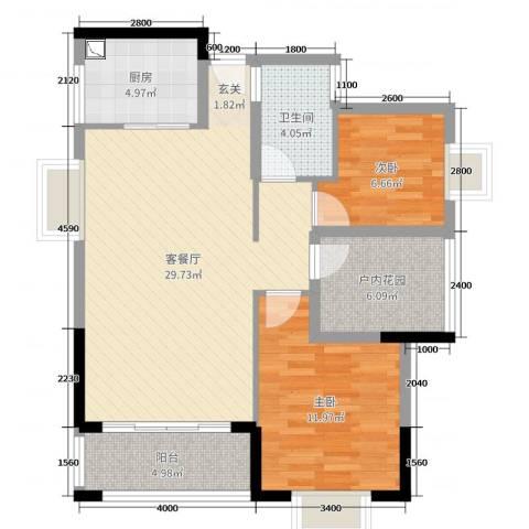 金碧丽江东海岸花园2室2厅1卫1厨90.00㎡户型图