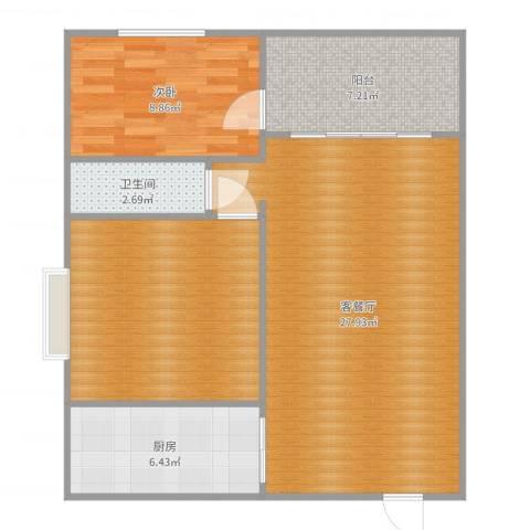 锦绣江山1室2厅1卫1厨83.00㎡户型图