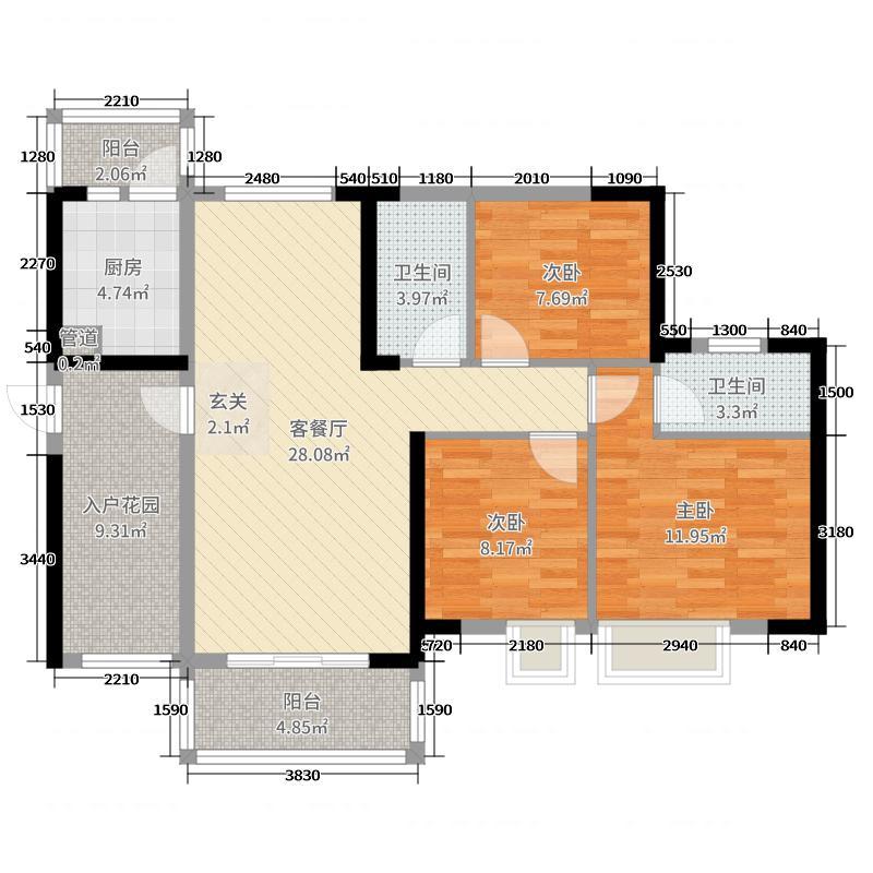 博澳城87.00㎡5区1-3座01和05单元户型3室3厅2卫1厨