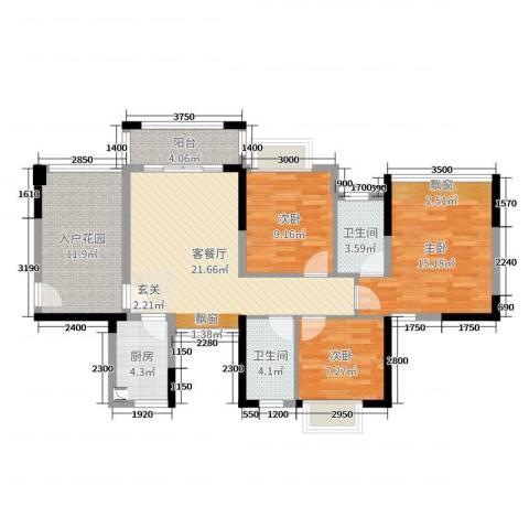 金碧丽江东海岸花园3室2厅2卫1厨100.00㎡户型图