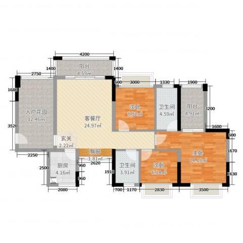 金碧丽江东海岸花园3室2厅2卫1厨109.00㎡户型图