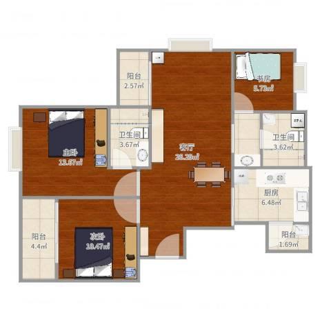 尚城汇景苑3室1厅2卫1厨101.00㎡户型图