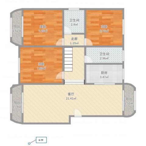 共富富都园3室1厅2卫1厨73.00㎡户型图