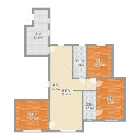 星光域3室2厅2卫1厨127.00㎡户型图