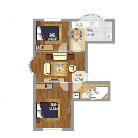 华宇名门2室2厅1卫1厨61.00㎡户型图