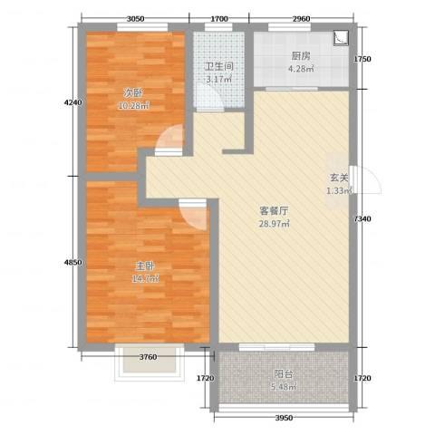 中亚・翰林华府2室2厅1卫1厨84.00㎡户型图