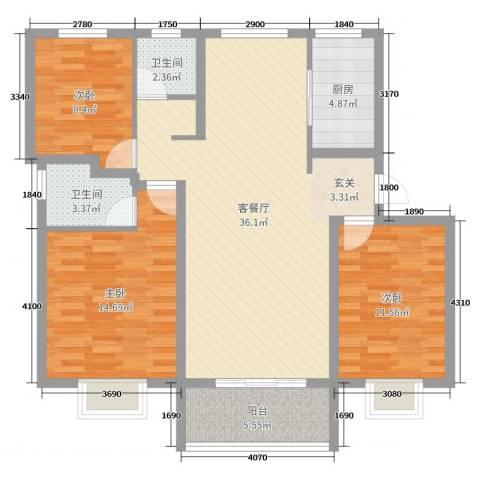 中亚・翰林华府3室2厅2卫1厨109.00㎡户型图