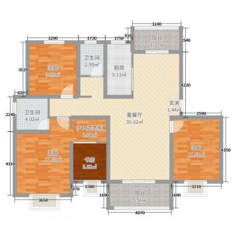 中亚・翰林华府4室2厅2卫1厨127.00㎡户型图