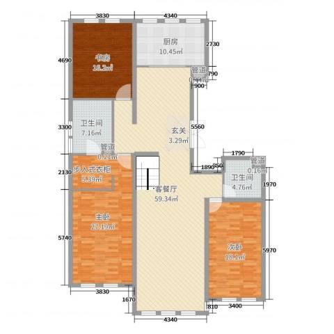大爱国际3室2厅2卫1厨180.00㎡户型图