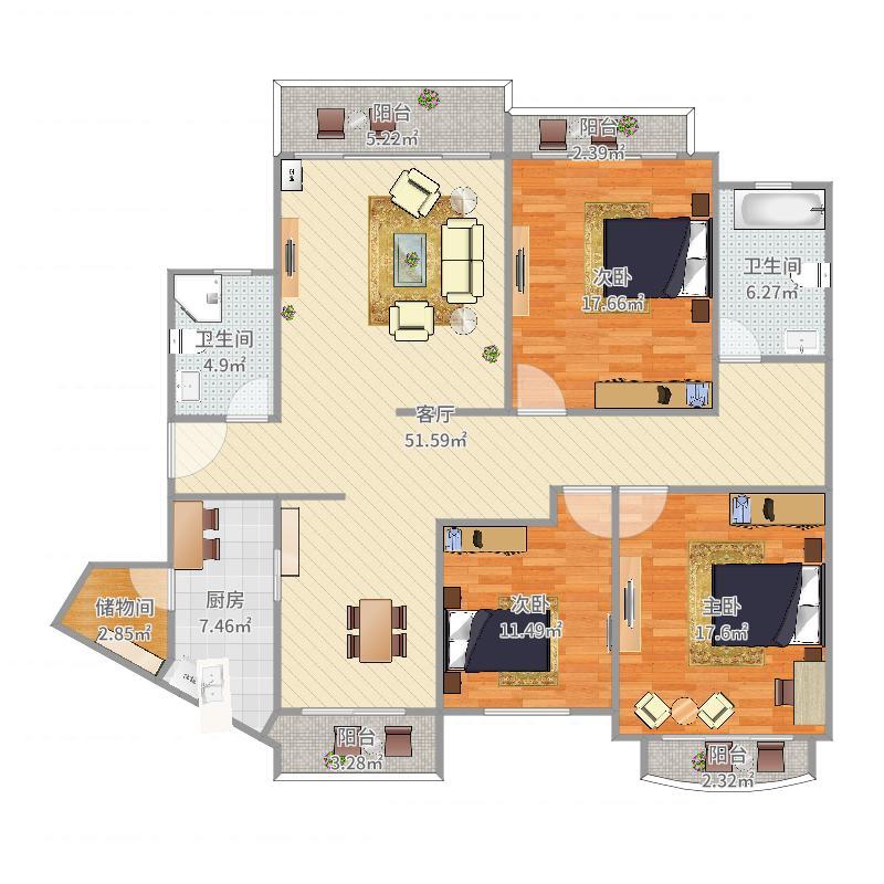 星河湾悦心园2栋208单元152㎡3房2厅鸟瞰图.jpg