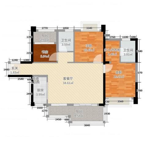 深业泰然观澜玫瑰轩3室2厅2卫1厨112.00㎡户型图