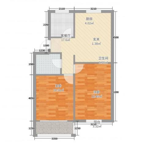 白杨小区2室2厅1卫1厨81.00㎡户型图