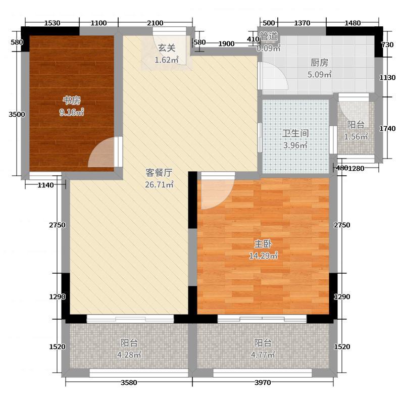 上置香岛御墅88.00㎡D5户型2室2厅1卫1厨