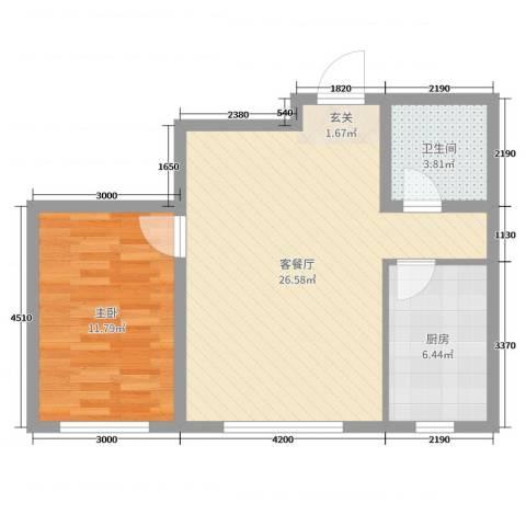 鑫城广场1室2厅1卫1厨70.00㎡户型图