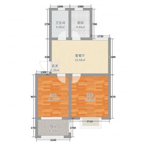 中熙凤凰城2室2厅1卫1厨67.00㎡户型图