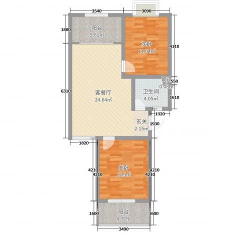 汇景仕嘉2室2厅1卫0厨79.00㎡户型图