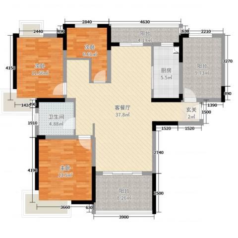 时代豪庭3室2厅1卫1厨128.00㎡户型图